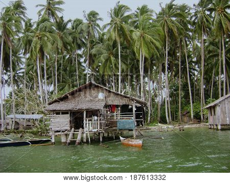Houses on stilts by the seaside, Surigao del Sur, Philippines Houses made of coconut wood and woven coconut fronds stay on top of the water using high poles
