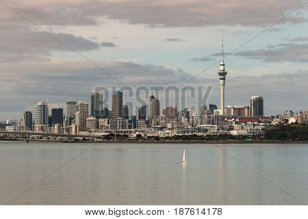 AUCKLAND, NEW ZEALAND - MAY 3, 2015: Auckland skyline with Harbour Bridge and Sky Tower