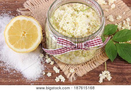 Elderberry Flowers And Ingredients For Preparing Fresh Healthy Juice