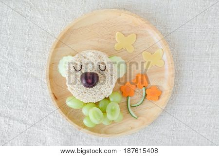 Koala Bear Lunch Plate, Fun Food Art For Kids
