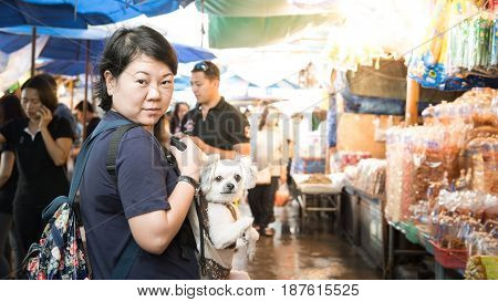 Ang Sila Seafood Market With Woman And The Dog