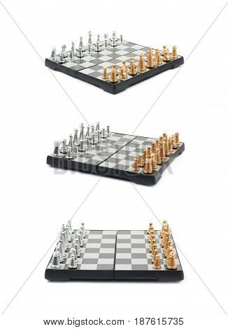 Chess board with figures set up, composition isolated over the white background, set of three different foreshortenings