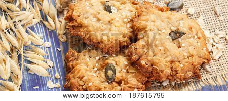 Oatmeal Cookies With Ingredients For Baking And Ears Of Oat, Healthy Dessert Concept