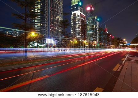 Empty Road Surface Floor With Modern City Landmark Architecture Backgrounds