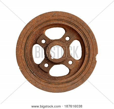 Rusty engine pulley isolated on white background