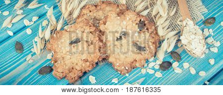Vintage Photo, Fresh Baked Oatmeal Cookies With Ingredients And Ears Of Oat, Healthy Dessert Concept