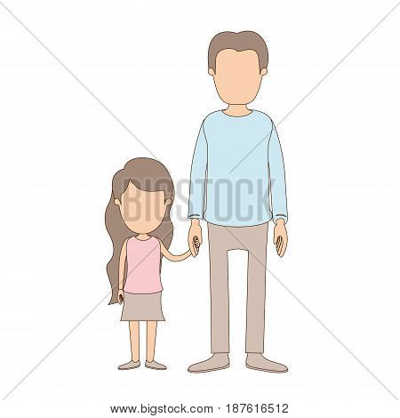 light color caricature faceless full body youn man taken hand with little girl vector illustration