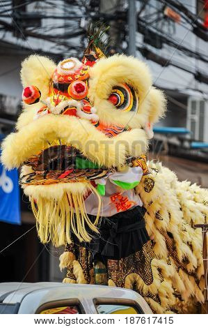 Chinese lion mask in Chinese new year parade.