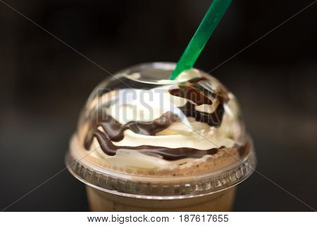 Close Up Of Whipped Cream On Top Of A Java Chip Frappe.