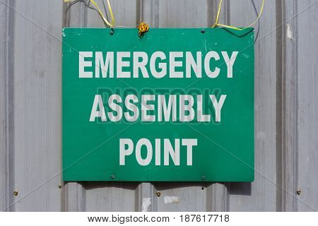 Green Emergency Assembly Point sign mounted to a metal construction site fence.