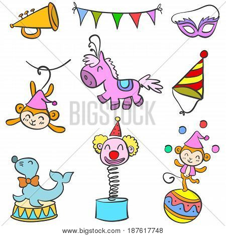 Doodle circus various object vector art illustration