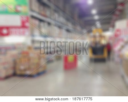 Abstract blur supermarket and retail store in shopping mall interior for background.