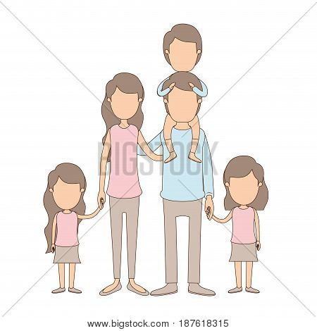 light color caricature faceless big family parents with boy on his back and daugthers taken hands vector illustration