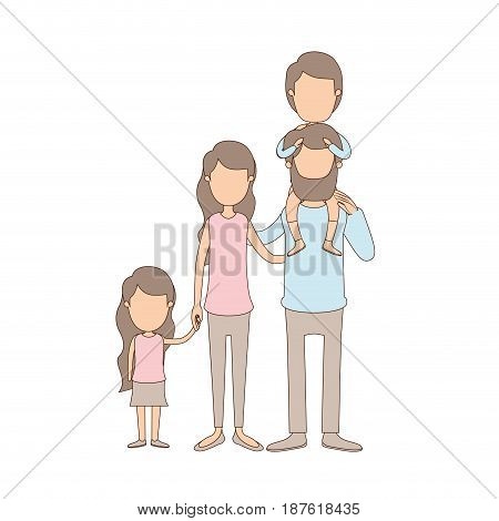 light color caricature faceless big family parents with boy on his back and daugther taken hands vector illustration
