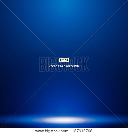 Smooth Dark blue with Black vignette studio room background with light shines from above. vector