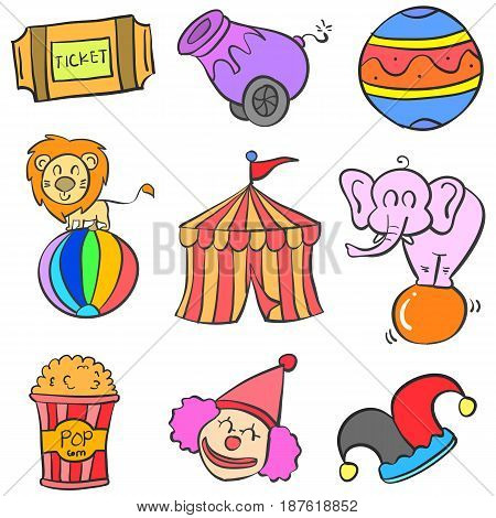 Object set circus doodle style vector art