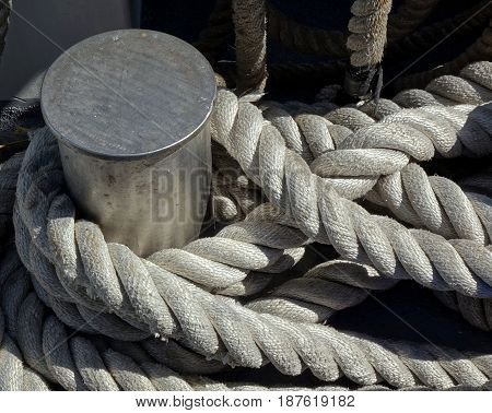Mooring Post With A Thick Rope