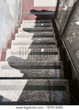 Top View of Outdoor Marble Staircase in The Chinese Temple.