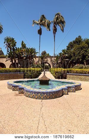 Beautiful Alcazar Garden At The Balboa Park In San Diego