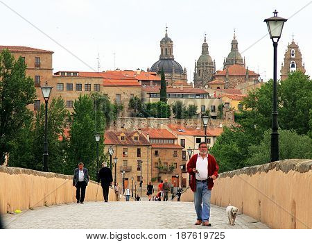 Salamanca, Spain - May 7, 2014. People and a dog are walking on ascent roman bridge with old city and the cathedral on background.