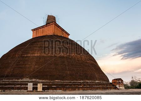 Jethawanaramaya stupa located in the ruins of Jaetavana in the sacred world heritage city of Anuradhapura sri Lanka.