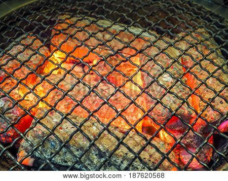 Steel grate for grilling food on hot charcoal, Close up image