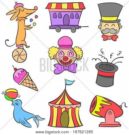 Circus element various doodle set vector illustration