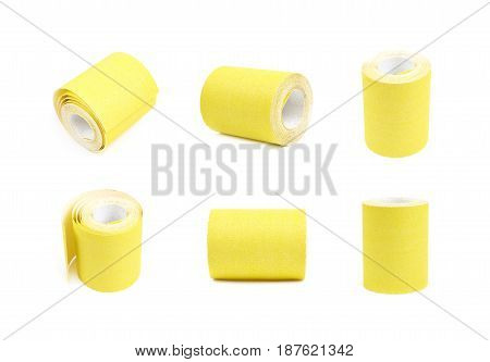 Roll of a sandpaper emery paper isolated over the white background, set of six different foreshortenings