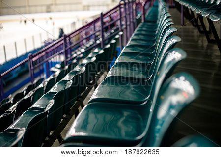 Plastic seat spectator stands for the ice hockey stadium