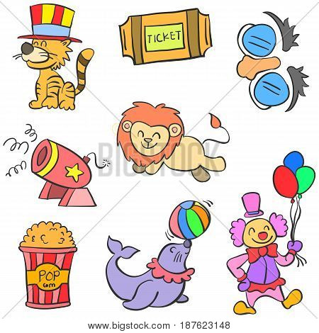 Doodle element circus colorful vector art illustration