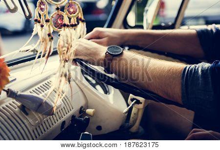 Adult Man Driving a Car Road Trip