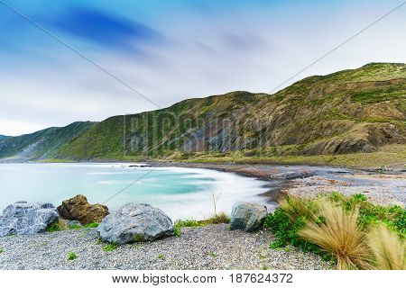 Te Kopahou Reserve is located at Owhiro Bay where people can enjoy walking cycling and also driving 4WD vehicles along the coast Wellington North Island of New Zealand