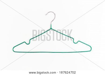One Colored Metal Hanger, Isolated On White Background, Close-up