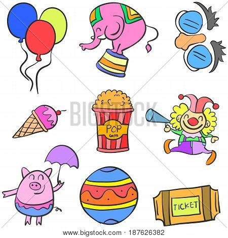 Doodle circus colorful set hand draw vector art