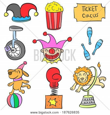 Set of circus object doodles vector illustration