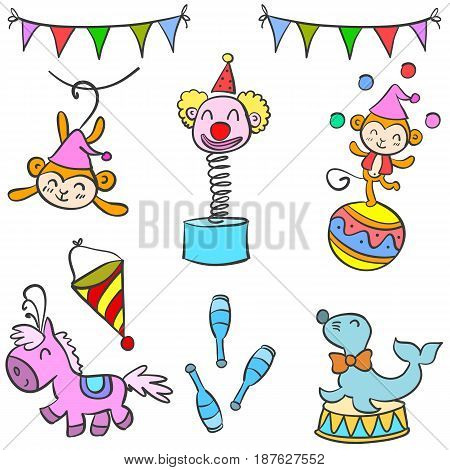 Cute doodle circus element collection vector illustration