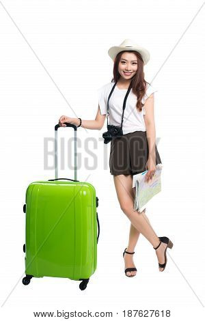 Full Length Of Beautiful Asian Young Woman Ready To Travel During Summer.