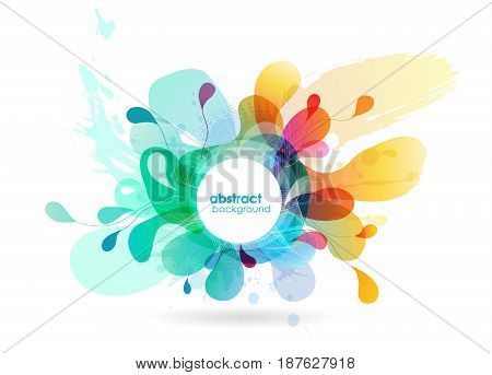 Abstract colored flower background with circles. Vector art