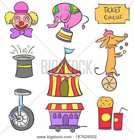 Doodle element circus funny design vector illustration