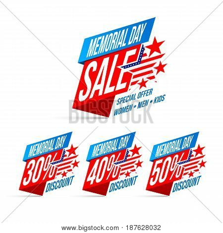 Memorial Day Sale discount labels vector illustration EPS10