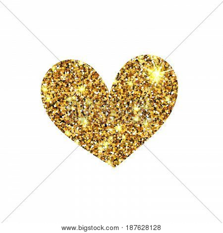 Gold glitter vector heart. Golden sparcle St. Valentines day card. Amber particles. Luxury design element.