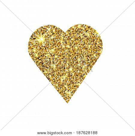 Gold Glitter Vector Heart. Golden Sparcle St. Valentines Day Card. Amber Particles. Luxury Design El