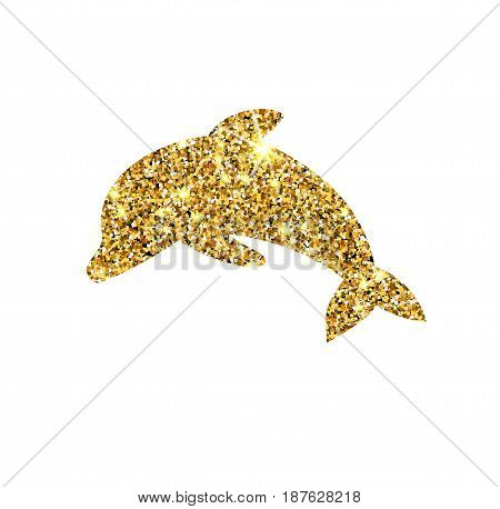 Gold Glitter Vector Dolphin. Golden Sparcle Fish. Amber Particles. Luxury Design Element.