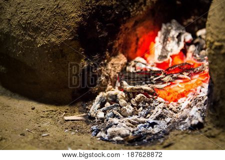 Embers Of A Dying Fire In A Wood Fired Stove Made Out Of Mud And Clay In A Traditional Outdoor Sri L