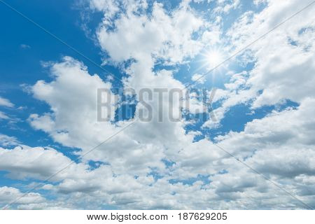 Blue sky with clouds and sun reflection