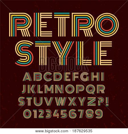 Old style alphabet. Retro type font disco, vintage typography poster with sunbeams textured background vector, EPS10. Brown and Colorful palette