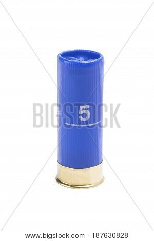 Blue cartridge from a hunting rifle isolated on a white background