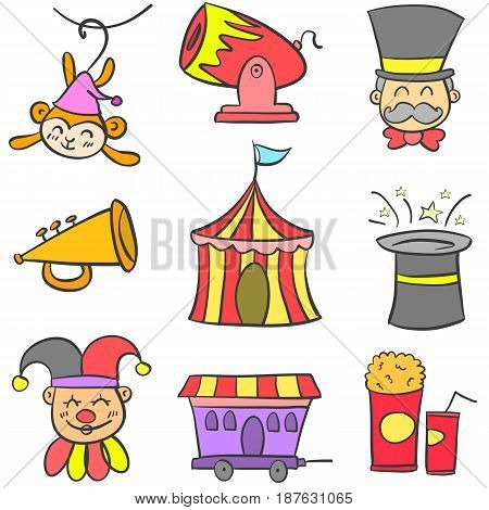 Collection stock circus theme doodles vector illustration
