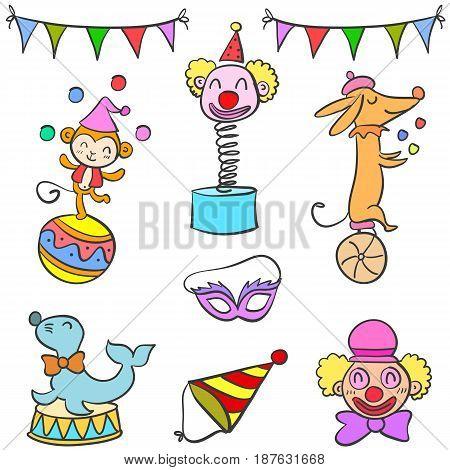 Set of circus element doodles vector illustration