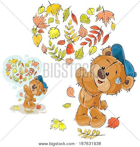 Vector autumn illustration of a brown teddy bear threw up the fallen leaves and made a heart out of them. Print, template, design element